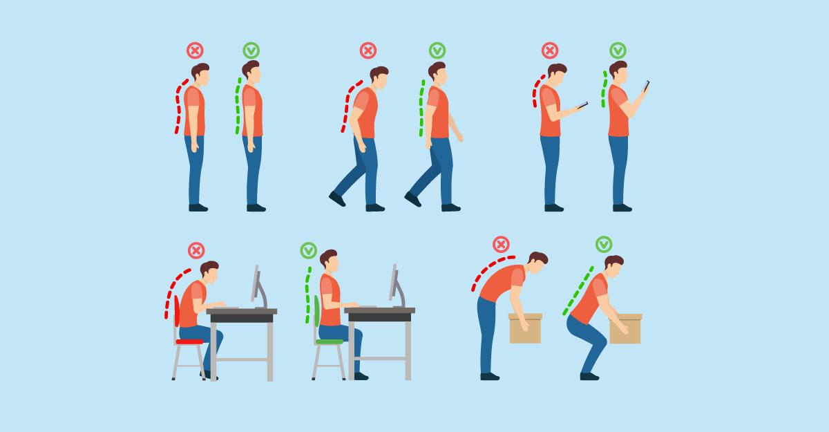 Ergonomi, illustartion av person som lyfter rätt, arbetar med rak rygg, går med bra hållning, står med bra hållning