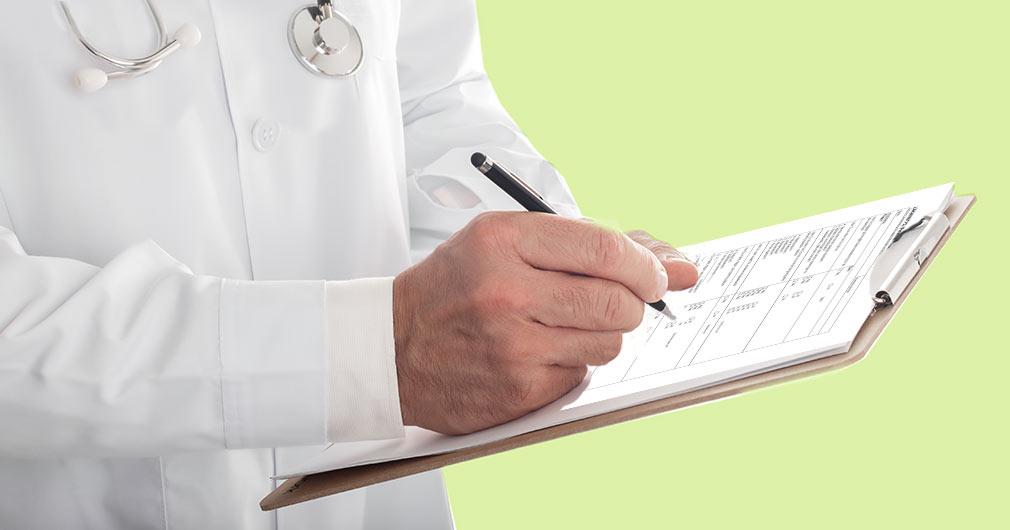 läkare som utfärdar intyg för försäkring, härdplast, körkort, friskhet, nyanställning