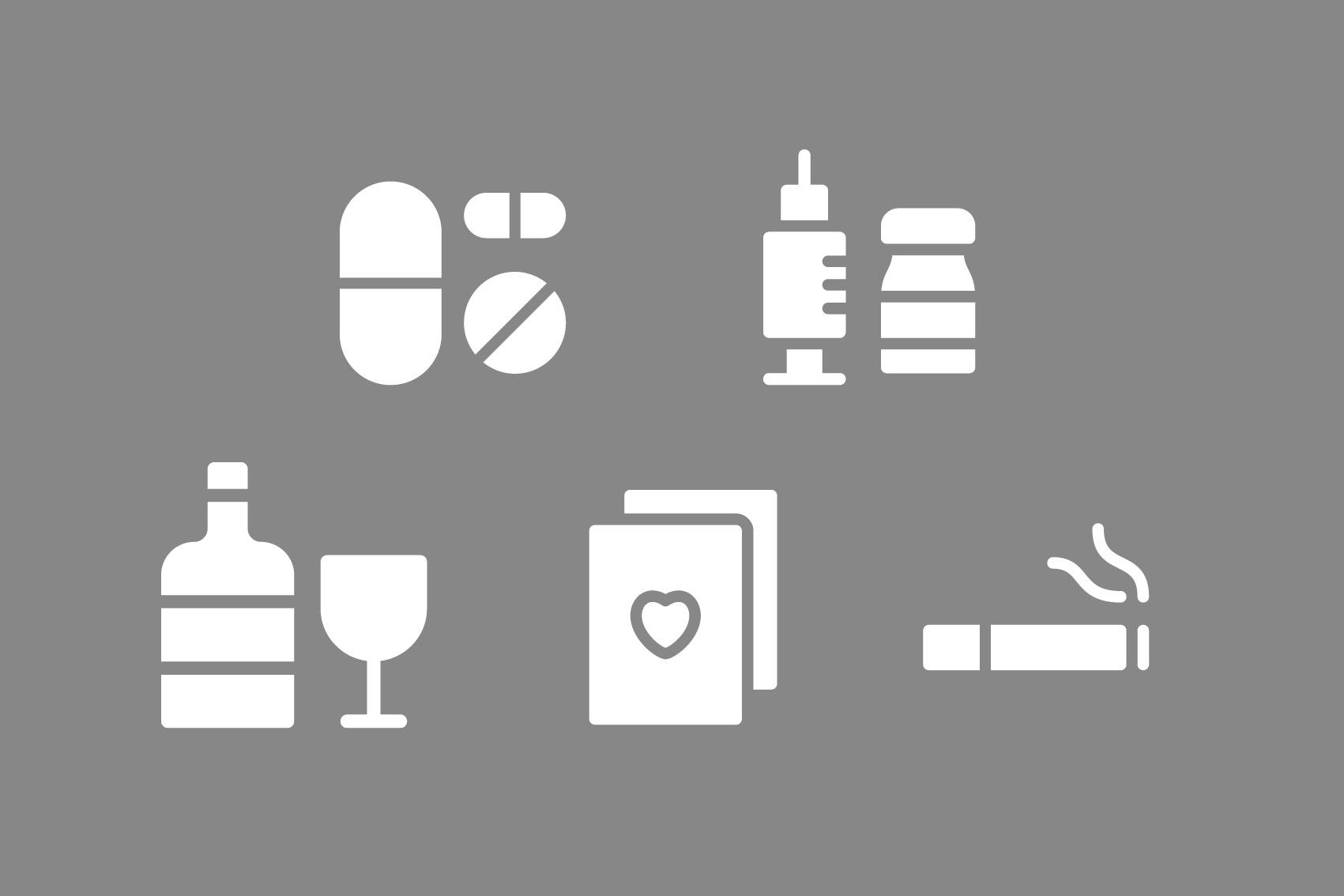 illustration av droger, alkohol, spelkort, cigarrett,