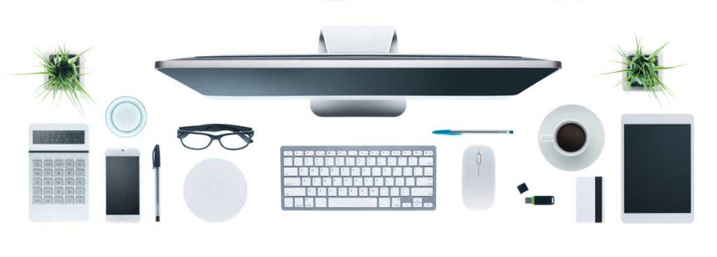 En arbetsplats för kontorsarbete eller arbete hemifrån, illustrerad